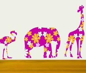 Bright Pink Giraffe Elephant Flamingo Set Wall Decal Stickers