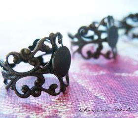 18 Antique Bronze Brass Filigree Adjustable Ring Shanks 18mm, 16mm