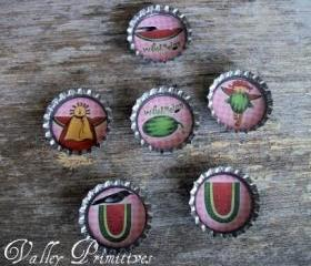 Bottle Cap Magnets, Watermelon,Summer, Set of 6,