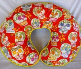 Sugar Skulls Boppy Nursing Pillow Cover Red Skulls