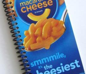 Journal Notebook CHEESE PASTA Macaroni & Cheese Spiral recycled Kraft blue yellow