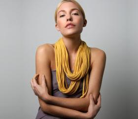 Circle Scarf Necklace - Infinity Loop Scarves - Mustard Necklush