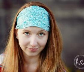 PreTied Bandana, Wide Fabric Headband, Womens Teens Workout Hairband- Bright Blue Stenciled Flowers