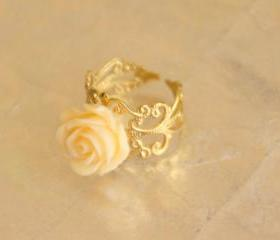Cream orange resin rose flower adjustable ring with filigree accessories gold plated