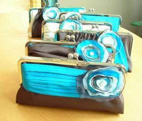 Modern Bride Bridal and Bridesmaids' Clutch in Satin Customized in your own Wedding Colors
