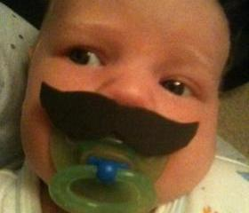 Mustache Boy Pacifier Burt Reynolds Style