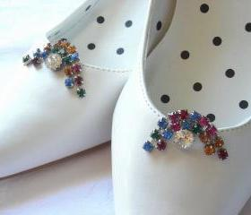 Vintage Rhinestone Shoe Clips in Rainbow Colors