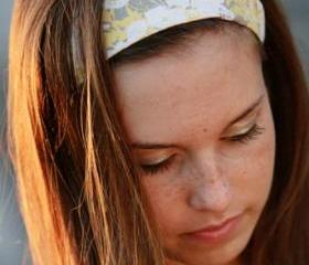 Wide Yoga Headband, Womens/Teens Bandana, Hippie Hairband- Grey and Yellow Flowers