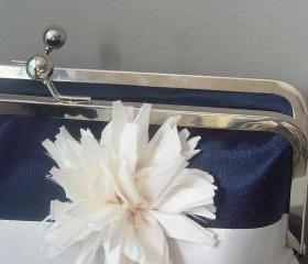 Contemporary Bride - Navy Satin Bridal Clutch - Ready to Ship or Customized in your own Wedding Colors