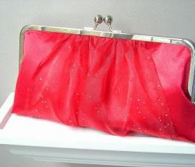 Nicole Evening Clutch in Deep Red with Sparkle Sash - READY TO SHIP or Customizable in the Color of your Choice