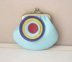 Cute Leather Coin Purse in Baby Blue