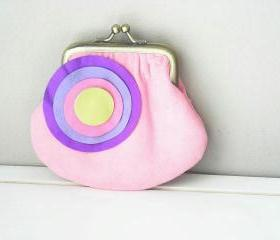 Cute Suede Leather Coin Purse in Light Pink