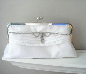 Bridal Clutch - Vanessa Dupioni Silk Bridal Clutch in White with Vintage Rhinestone Jewelry Ready to Ship