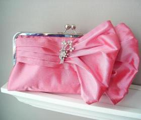 Jasmine Bridal Double-Bow Clutch in Watermelon Dupioni Silk with Vintage Brooch READY TO SHIP