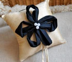 Bianca Dupioni Silk Ring Bearer's Pillow - Customizable in your own wedding colors