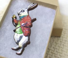 Alice in Wonderland Pin Brooch Mr. Rabbit Wooden