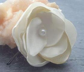 Fabric Flower Bobby Pin in Ivory - Customizable in your wedding colors