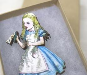Alice in Wonderland Pin Brooch Drink Me Wooden Wood