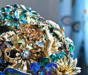 Vintage Rhinestone Brooch Bridal Bouquet - One of a Kind Heirloom for your Wedding Day - Made to Order