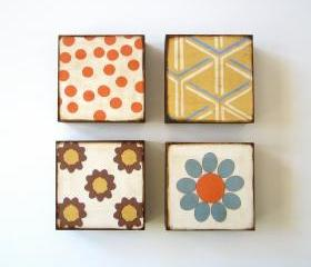 Art Block Four Set 5x5 wood Mix and Match Personalize Custom colorful bright orange blue yellow redtilestudio 