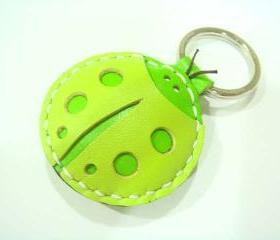 Penny the ladybug leather charm ( Green )
