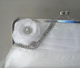 Rhinestone Dupioni Silk Bridal Clutch in White with Vintage Rhinestone READY TO SHIP