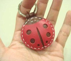 Penny the LadyBug Leather Charm / Keychain ( Red / Brown )