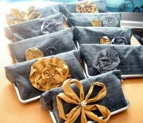 Modern Bridesmaids Dupioni Silk Clutch with Silk Flower Accents - Customizable in the Color of your Choice