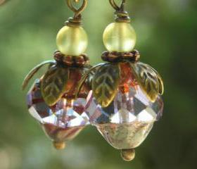 Lavender Yellow Berries, earrings, Czech glass fire polished cathedral beads, vintage finish antiqued brass petals berry feminine romantic