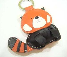 BIG Ray the Red Panda Leather Bag charm ( Orange / Black )
