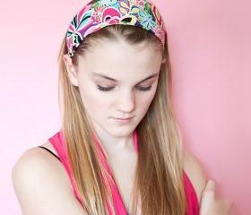 Wide Stretch Womens/Teens Headband, Colorful Fun Hairband, Stylish Bandana- Bright Rainbow Floral