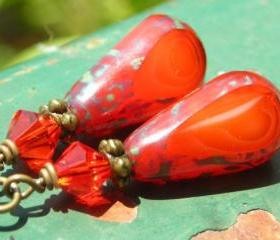 Fire Drops, pumpkin orange Czech glass beads and fire color red Swarovski crystals, antiqued brass earrings