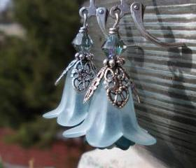Light blue and silver flower earrings, petal filigree bell florals in teal delicate pale ice blue black diamond on leverbacks lucite