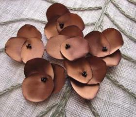 Hydrangea Blossoms-Handmade satin sew on flower appliques (10 pcs)- MOCHA BROWN