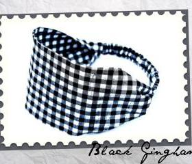 Wide Stretch Headband- Black Checked Gingham