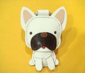 CoCo the French Bull Dog Leather Charm / Keychain ( White )