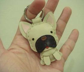 Mask the French Bull Dog Leather Charm / Keychain ( Light Brown )