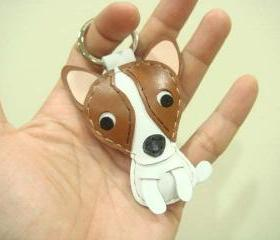 Margaret the Chihuahua leather keychain ( Brown and White )