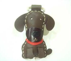 Cocoa the Chocolate Labrador Leather Keychain ( Dark Brown )
