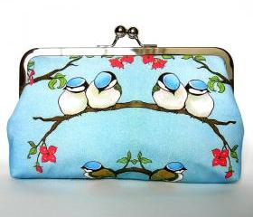 Kisslock Frame Clutch Silk Lined Blue Birds on a Branch Chickadee Purse