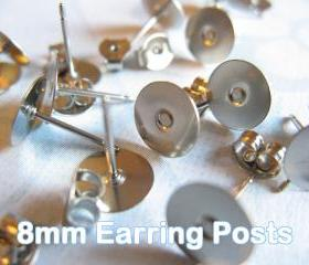 100pcs Surgical Stainless Steel 8mm Flat-Pad Earring Posts and Backs