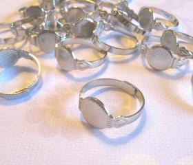 25 Adjustable Ring Blanks - 10mm pad - silver