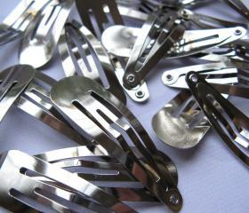 10pcs Hair Snap Clips 49mm - Silver Tone