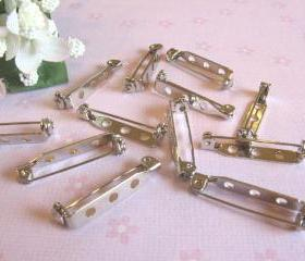 40 Brooch Back Pins - 1 inch - 3 holes