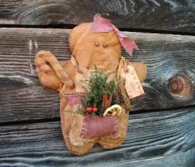Christmas Primitive Grungy Gingerbread Decoration - Wall Hanging or Shelf Tuck - For Your Hutch, Mantle or Cupboard