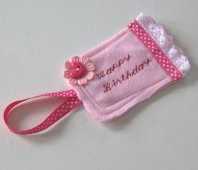 Pink felt gift tag
