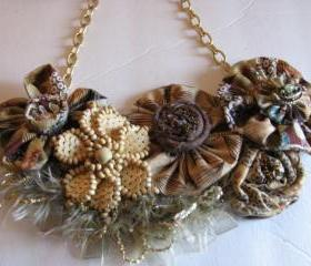 Yo Yo Bib Necklace Brown and Beige Floral
