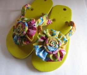 Yellow Decorated Flip Flops