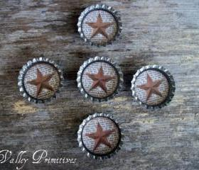 Bottle Cap Magnets - Barn Stars, Primitive, Set of 5