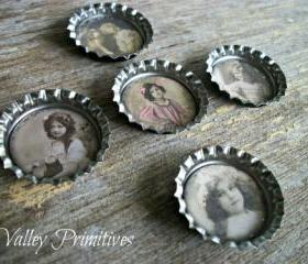 Bottle Cap Magnets - Young Ladies, Victorian, Shabby Chic, Country Cottage, Vintage, Set of 5
